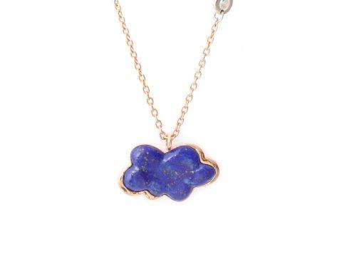Rose and Lapis Lazuli Cloud Long Piece Chain Necklace