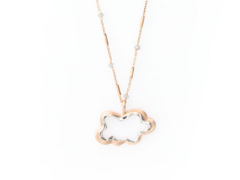 Rose and Cloud Long Gemstone Chain Necklace