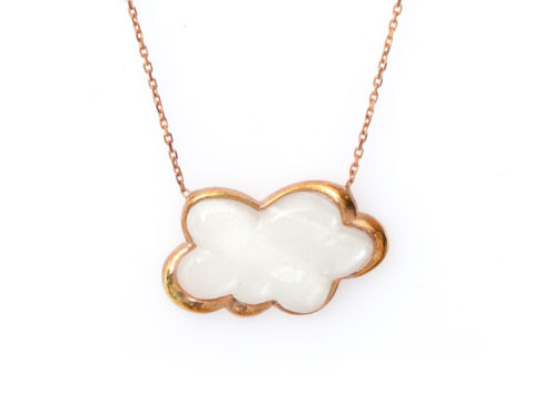 Moonstone and Pearl Cloud Gemstone Chain Necklace