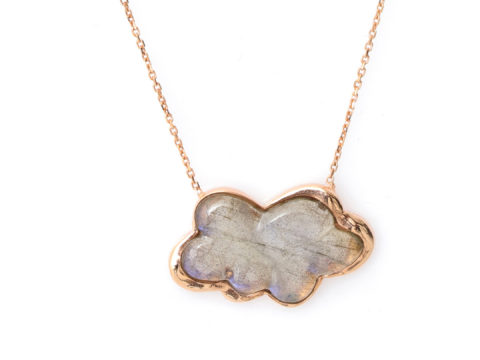 Rose and Labradorite Cloud Piece Chain Necklace