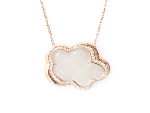 Moonstone and Diamond Cloud Necklace