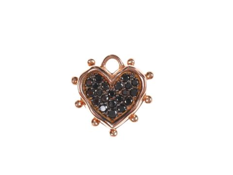 Black Diamond Medium Heart Charm and Medium Heart Plate Charm