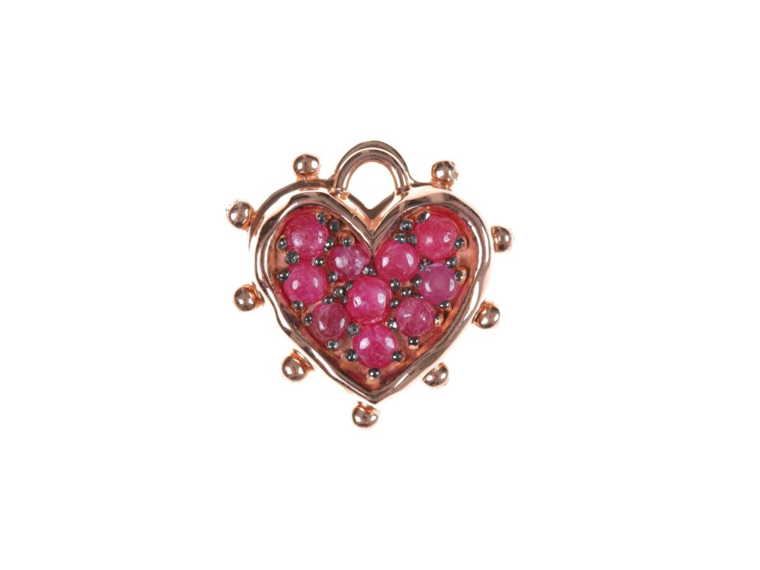 Ruby Medium Heart Charm and Medium Heart Plate Charm