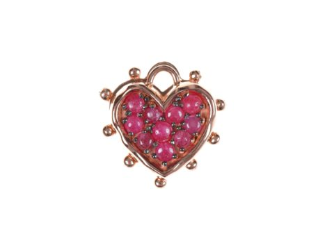Ruby Medium Heart Charm and Medium Heart Plate Charm