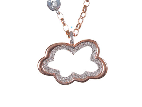 Rose and Large Diamond Cloud Piece Chain Necklace
