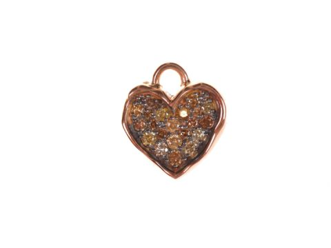 Cognac Diamond Small Heart Charm