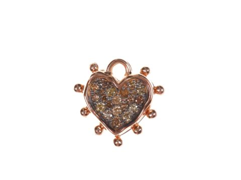Cognac Diamond Small Heart Charm and Small Heart Plate Charm
