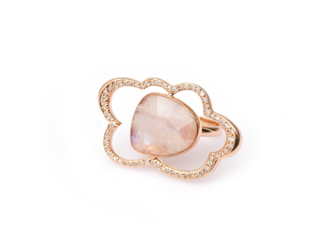 Diamond and Rainbow Moonstone Cloud Ring
