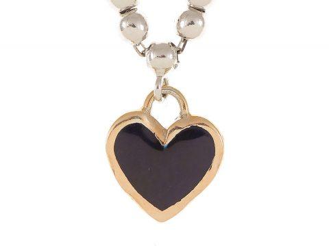 Lacivert ve Beyaz Mine Boncuk Zincir Minik Kalp Bilezik