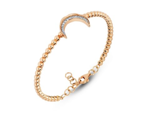 Memory Diamond Beaded Moon Bracelet