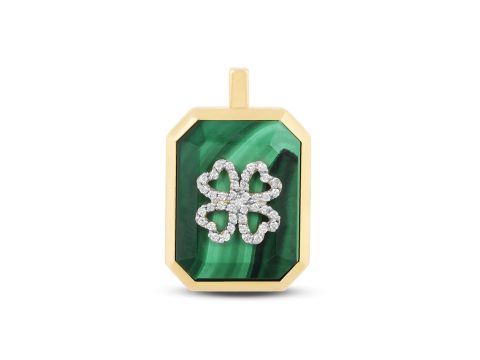 Malachite Medium Clover Charm