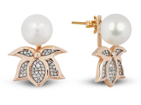 Pearl Lotus Diamond Earrings