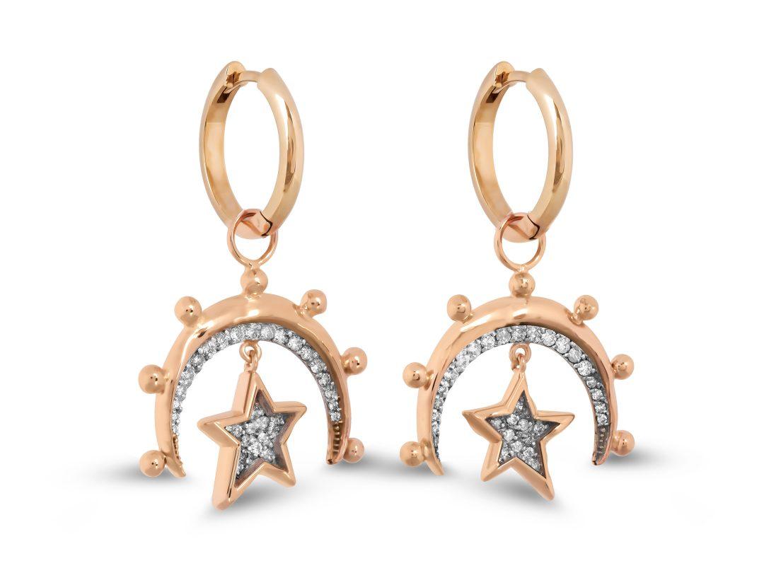 Moon and Small Star Hoop Earrings
