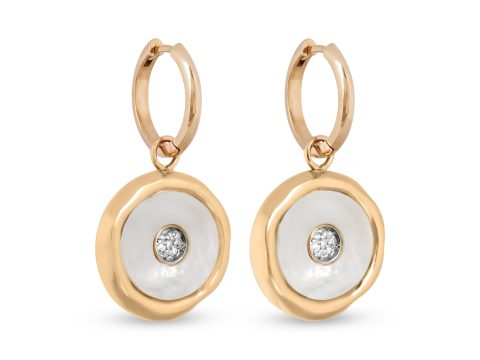 Mother of Pearl Medium Evil Eye Hoop Earrings