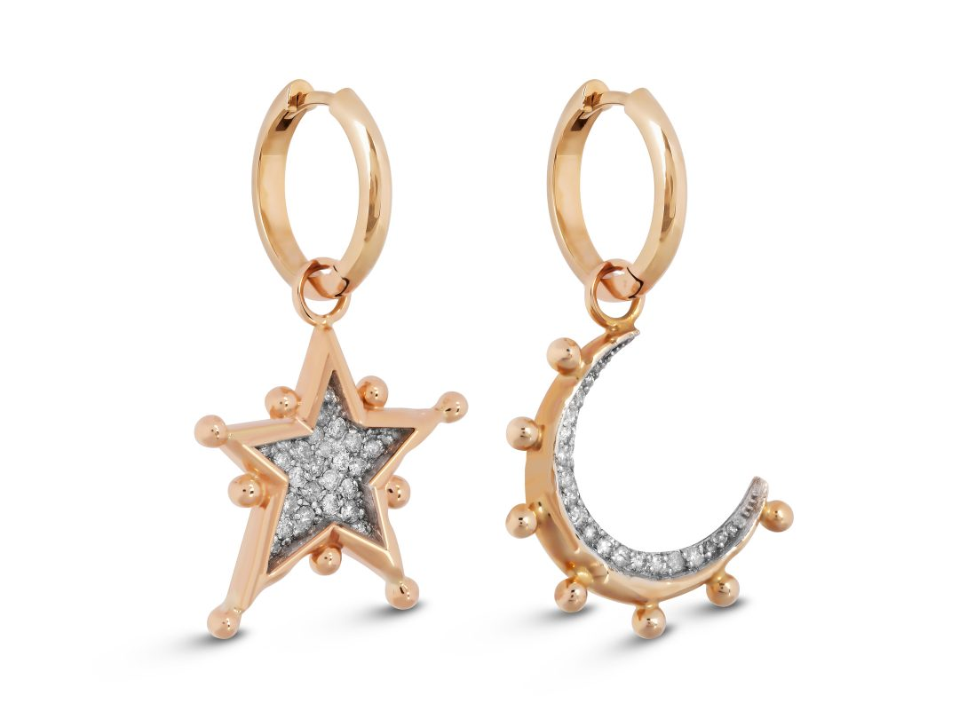 Moon and Star Medium Hoop Earrings