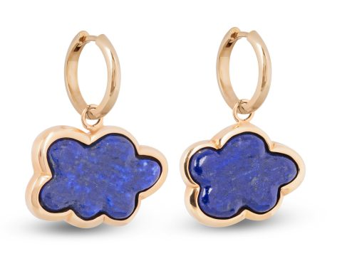 Lapis Lazuli Silver Lining the Cloud Hoop Earrings