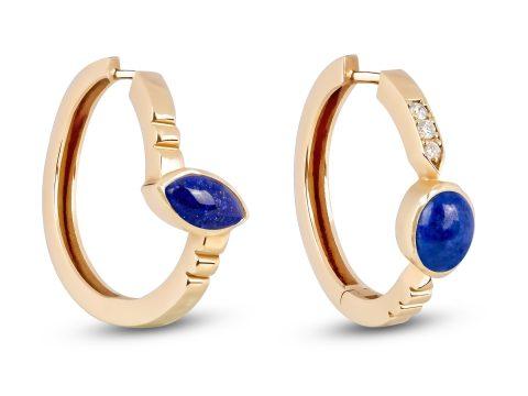 Lapis Lazuli Merdiven Hoop Earrings