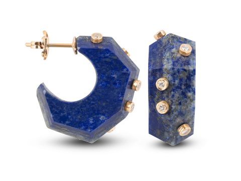 Lapis Lazuli Milestone Hoop Earrings