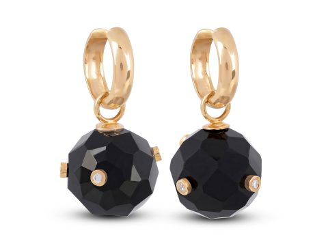 Onyx Milestone Sphere Hoop Earrings