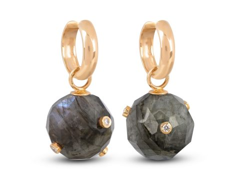 Labradorite Milestone Sphere Hoop Earrings