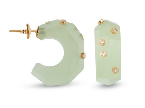 Green Moonstone Milestone Hoop Earrings