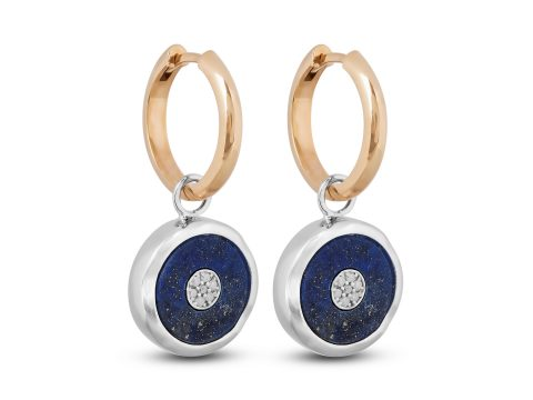 Lapis Lazuli Small Evil Eye Hoop Earrings