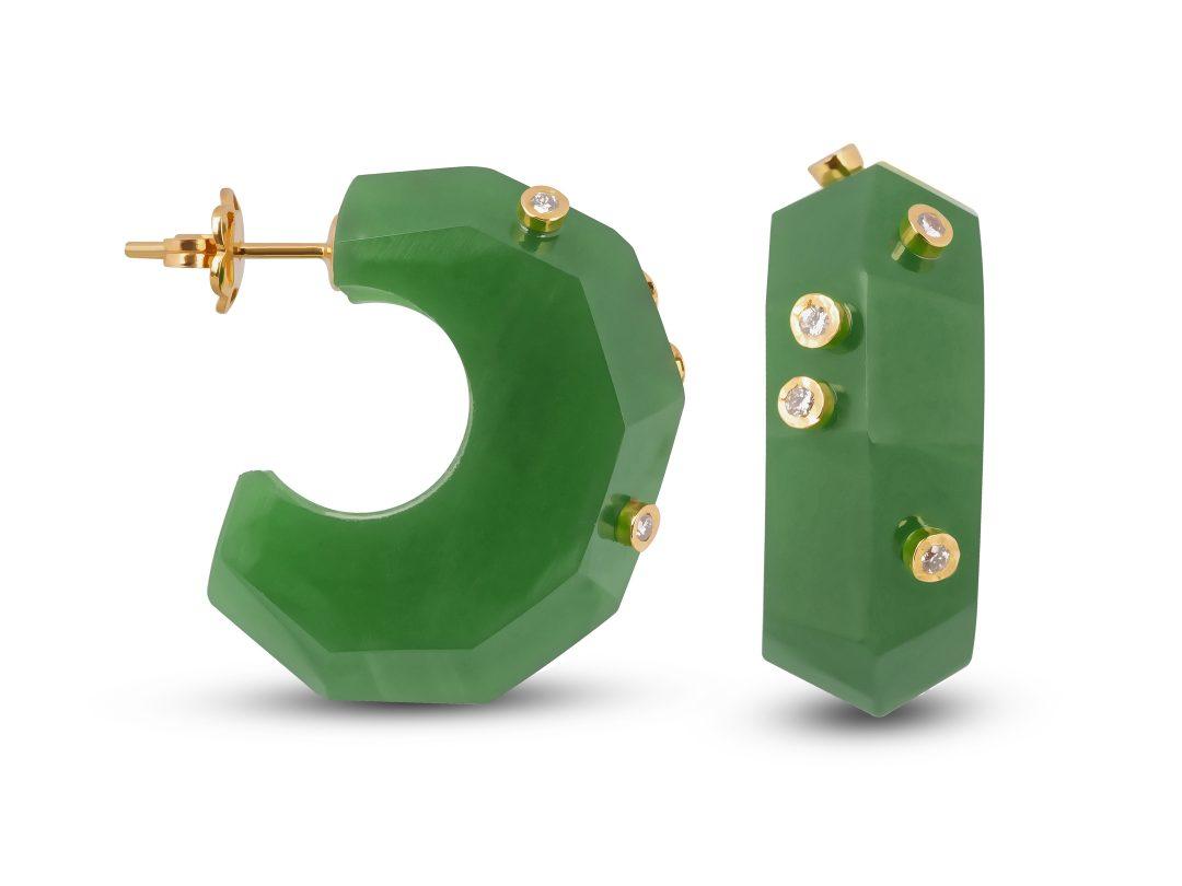 Jade Milestone Hoop Earrings