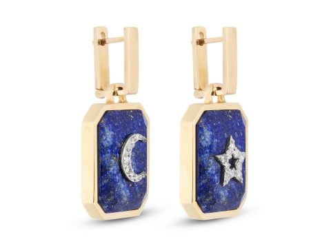 Lapis Lazuli Medium Moon and Star Earrings