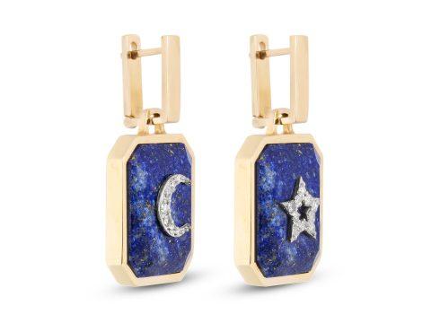 Lapis Lazuli Medium Moon and Star Earrings