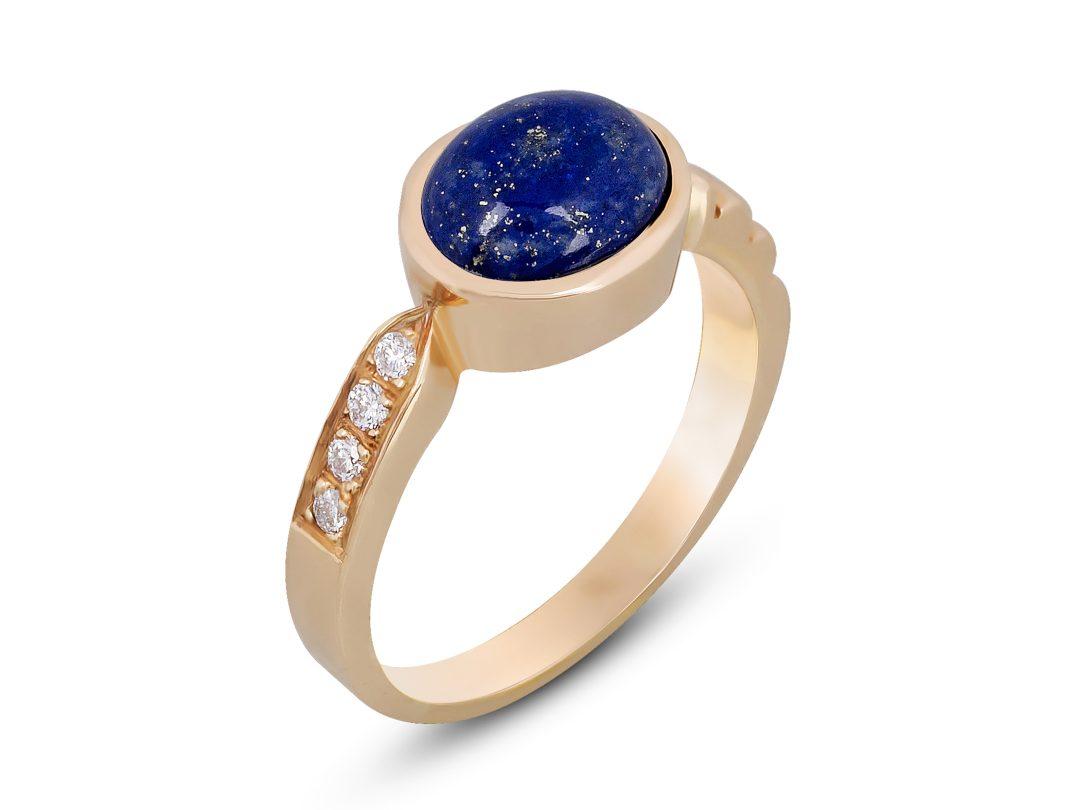 Lapis Lazuli Thin Merdiven Diamond Ring