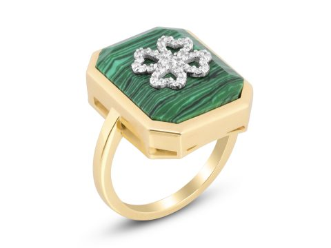 Malachite Medium Clover Ring